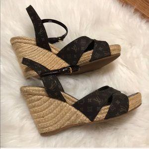 Authentic Louis Vuitton Wedge Heel Sandals